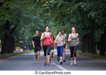 ジョッギング, グループ, 人々