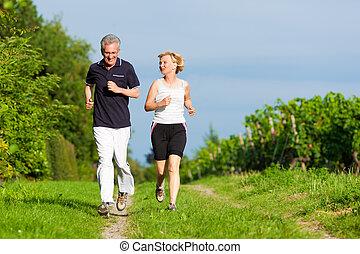 ジョッギング, スポーツ, 恋人, シニア
