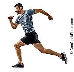 ジョッギング, ランナー, 影, 動くこと, 隔離された, 人, ジョガー