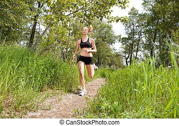 ジョッギング, 女, 公園
