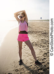 ジョッギング, 後で, 浜, 伸張