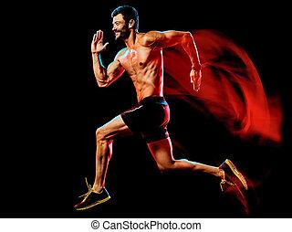 ジョッギング, 黒い背景, runner., 筋肉, トップレスで, ジョガー, 動くこと, 人, 隔離された