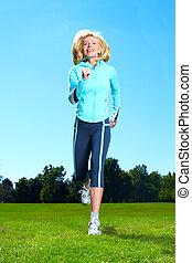 ジョッギング, woman., 幸せ