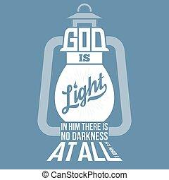 ジョン, シルエット, 形, 新しい, 神, 新約聖書, デザイン, 引用, 聖書, 型, ランプ, ライト