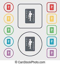 ジョーカー, 広場, frame., 印。, カード, ボタン, 単一, ベクトル, 遊び, シンボル, ラウンド, アイコン