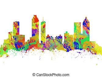 ジョージア, 芸術, アメリカ, 水彩画, スカイライン, 印刷, アトランタ