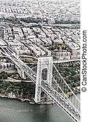ジョージ・ワシントン橋, ニューヨーク市, から, ∥, 空