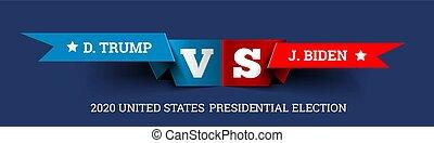 ジョー, 合併した, 大統領である, donald, 切り札, 選挙, vs., ベクトル, biden., states., イラスト