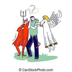 ジレンマ, 人, 特徴, 天使, ささやくこと, 決定, 肩, 彼の, 教訓, 耳, 作りなさい, マレ, 悪魔, 持つこと, の後ろ