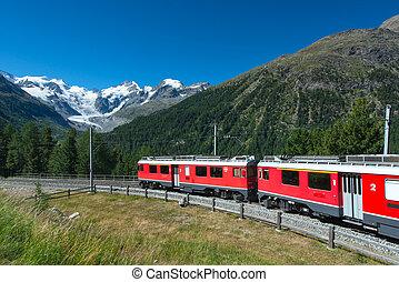 スイス人, 山, 列車, bernina, 急行, 交差させる, アルプス