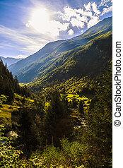 スイス, すばらしい, アルプス, 風景