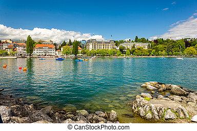 スイス, ローザンヌ, -, 堤防, 光景