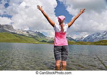スイス, 山湖, 女の子