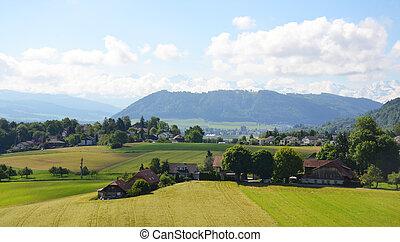 スイス, 村, 空中写真
