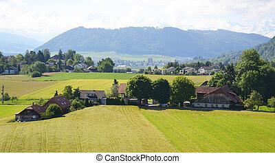 スイス, 村, 航空写真, 光景