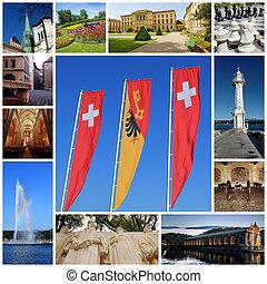 スイス, 都市, ジュネーブ, コラージュ