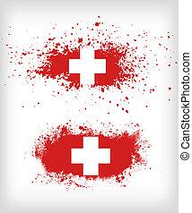 スイス, inked, グランジ, 旗