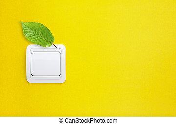 スイッチ, ∥で∥, 緑, leaf., セービング, エネルギー, concept.