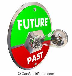スイッチ, イラスト, 昨日, を過ぎて, トグル, ∥対∥, 未来, 明日, 今日, 3d
