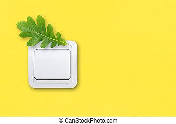 スイッチ, 上に, 黄色, 壁, ∥で∥, 緑, オーク, leaf., エネルギー, セービング, concept.