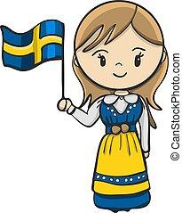 スウェーデン語, 女の子, 衣装, 漫画