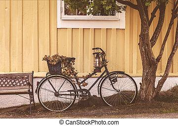 スウェーデン語, 自転車, 家, 錆ついた, 前部, 古い