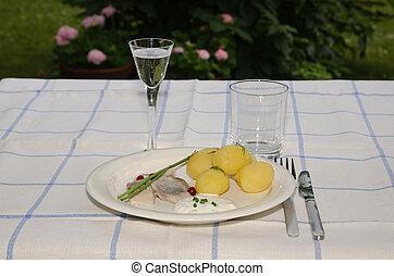 スウェーデン語, midsummer, 食事