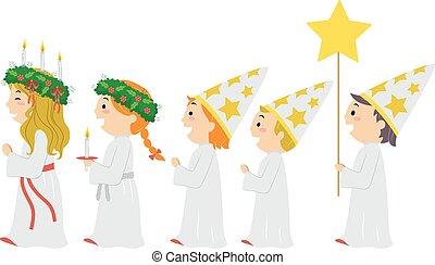 スウェーデン, パレード, lucia, stickman, 子供, 聖者