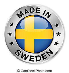 スウェーデン, 作られた, バッジ, 銀