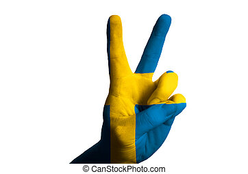 スウェーデン, 国旗, 2, 指, の上, ジェスチャー, ∥ために∥, 勝利, そして, winne