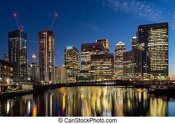 スカイライン, たそがれ, ロンドン, 建物, イギリス, カナリア, 日没, 波止場