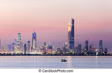 スカイライン, の, クウェートシティー, 夜で