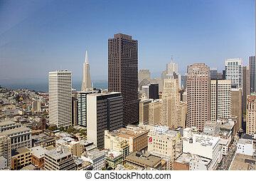 スカイライン, の, サンフランシスコ, 見られた, から, a, 空の スクレーパー, ∥で∥, 青い空