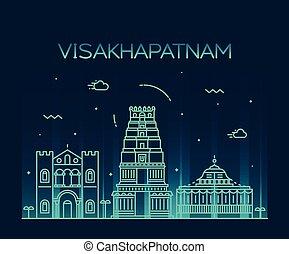 スカイライン, ベクトル, visakhapatnam, スタイル, 線である
