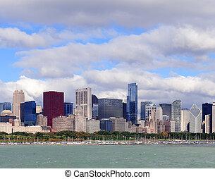 スカイライン, 上に, ミシガン州, 湖, シカゴ
