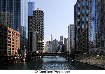 スカイライン, 光景, 航空写真, シカゴ