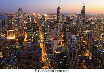 スカイライン, 夜, 航空写真, シカゴ