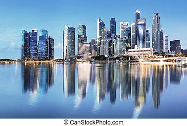 スカイライン, 日の出, シンガポール, 反射, -, パノラマ