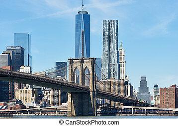 スカイライン, 橋, より低い, brooklyn, マンハッタン