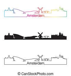 スカイライン, 虹, スタイル, 線である, アムステルダム