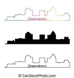 スカイライン, 虹, スタイル, 線である, greensboro