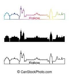 スカイライン, 虹, スタイル, krakow, 線である