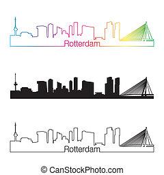 スカイライン, 虹, スタイル, rotterdam, 線である