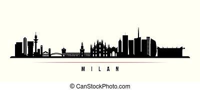 スカイライン, 都市, 横, ミラノ, banner.