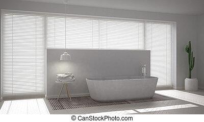 スカンジナビア人, デザイン, minimalistic, 内部, 白, 浴室