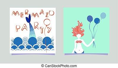 スカンジナビア人, 碑文, サイレン, セット, サマータイム, 特徴, イラスト, 漫画, 毛, カード, ベクトル, invitations., 波, 印刷, パーティー少女, balloons., パーティー。, style., mermaid