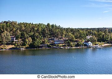 スカンジナビア, 納屋, 和解, 群島, 家, 海岸線, スウェーデン, 小さい, baltic 海, ストックホルム