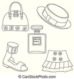 スカート, セット, 背景, 概説された, 香水のビン, 白い帽子, 靴, 袋