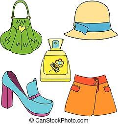 スカート, セット, 背景, 靴, 香水のビン, 白い帽子, 袋