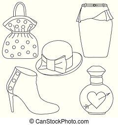 スカート, セット, illustration., 概説された, 香水, バックグラウンド。, ベクトル, びん, 白い帽子, 靴, 袋